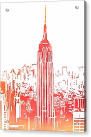 Empire State Building And Manhattan Skyline Sketch Acrylic Print by Dan Sproul