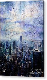 Empire State Building In Blue Acrylic Print by Ryan Fox