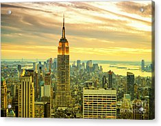 Empire State Building In The Evening Acrylic Print by Sabine Jacobs