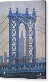 Empire State Building Through The Manhattan Bridge Acrylic Print