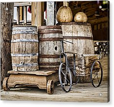 Emptied Barrels Acrylic Print by Heather Applegate
