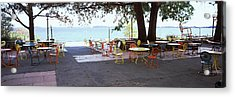 Empty Chairs With Tables In A Campus Acrylic Print by Panoramic Images