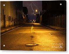 Empty City Street At Night With Lighting Strike Acrylic Print by Denis Tangney Jr