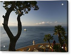 Empty Dining Tables In The Balcony Acrylic Print by Panoramic Images