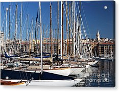 Empty Masts In Vieux Port Acrylic Print by John Rizzuto