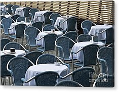 Empty Restaurant Seats And Tables Acrylic Print by Sami Sarkis