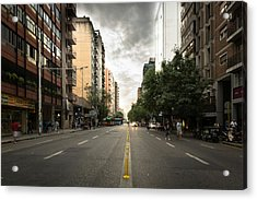 Empty Road Along Buildings Acrylic Print by Andres Ruffo / EyeEm