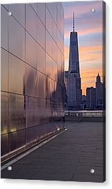 Empty Sky Memorial And Freedom Tower Sunrise Acrylic Print by Susan Candelario