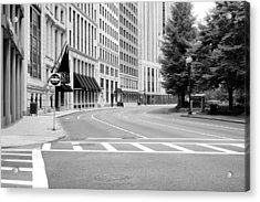 Empty Street In Boston Acrylic Print by Boris Mordukhayev