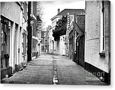 Empty Street In Bruges Acrylic Print by John Rizzuto