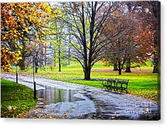 Empty Walkway On A Beautiful Rainy Autumn Day Acrylic Print by Nishanth Gopinathan