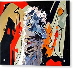Emu Design In Acrylic Acrylic Print by Rae Andrews