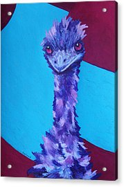Acrylic Print featuring the painting Emu Eyes by Margaret Saheed