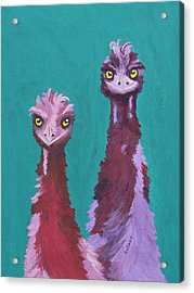 Acrylic Print featuring the painting Emu Watch by Margaret Saheed