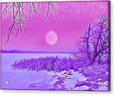 Acrylic Print featuring the digital art Rosy Hued Moonlit Lake - Boulder County Colorado by Joel Bruce Wallach