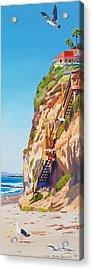 Encinitas Beach Cliffs Acrylic Print by Mary Helmreich