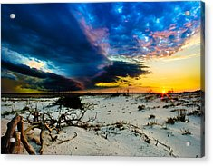 Acrylic Print featuring the photograph Encroaching Storm Landscape-blue Clouds Sunset Beach by Eszra