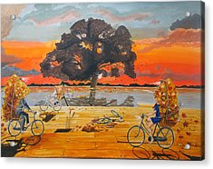 Acrylic Print featuring the painting End Of Season Habits Listen With Music Of The Description Box by Lazaro Hurtado