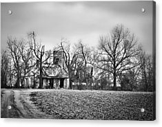 End Of The Road Farmhouse In Bw Acrylic Print by Greg Jackson