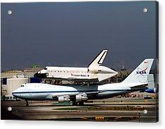 Endeavor And Nasa 747 Taxi After Final Landing Acrylic Print