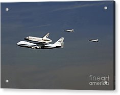 Endeavour Space Shuttle In La With Escort Fighter Jets  Acrylic Print by Howard Koby