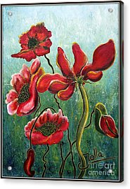 Endless Poppy Love Acrylic Print by Jolanta Anna Karolska