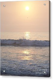 Hampton Beach Wave Ends With A Splash Acrylic Print by Eunice Miller