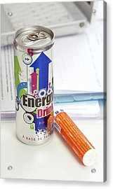 Energy Drink And Vitamin Pills Acrylic Print by Science Photo Library