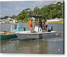 Enforcing Oyster Harvesting Regulations Acrylic Print by Jim West