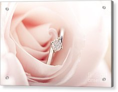 Engagement Ring In Pink Rose Acrylic Print