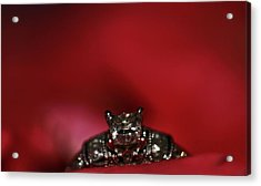 Engagement Ring On Rose Petals Acrylic Print