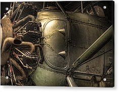 Radial Engine And Fuselage Detail - Radial Engine Aluminum Fuselage Vintage Aircraft Acrylic Print