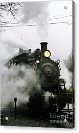 Engine Number 40 Making Steam Pulling Into New Hope Passenger Train Terminal Acrylic Print by Michael Hoard