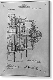 Engine Patent Drawing Acrylic Print by Dan Sproul