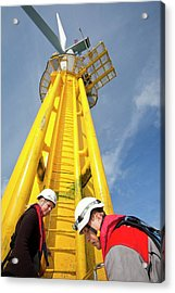 Engineer Climbing A Transition Piece Acrylic Print