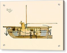 Engineering Design For A Submarine 1806 Acrylic Print by Mountain Dreams