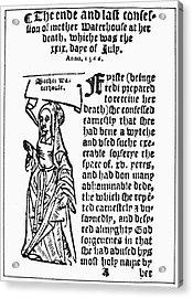 England Witch Trial, 1566 Acrylic Print