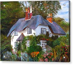 English Cottage Acrylic Print by LaVonne Hand