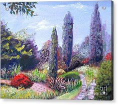 Acrylic Print featuring the painting English Estate Gardens by Marcia Dutton