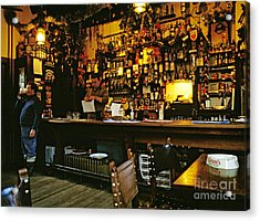 English Pub At Christmas-time Uk 1980s Acrylic Print by David Davies