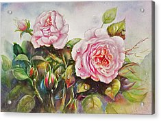 Acrylic Print featuring the painting English Roses by Patricia Schneider Mitchell