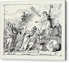 English Satirical Prints Upon Events In France, The Fall Acrylic Print by Litz Collection