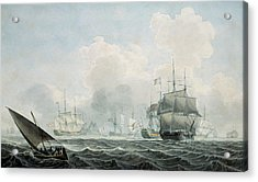 English Ships Of War Acrylic Print by Robert Cleveley