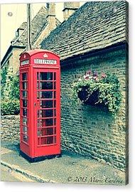 English Telephone Box Acrylic Print by Marie  Cardona