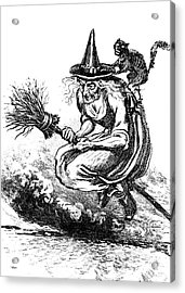 Engraving Of Ugly Old Witch Riding Acrylic Print