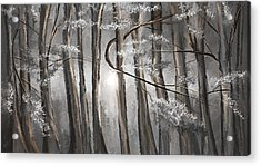 Enigmatic Woods- Shades Of Gray Art Acrylic Print by Lourry Legarde