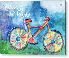 Enjoy The Ride- Colorful Bike Painting Acrylic Print by Linda Woods