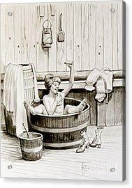 Bawdy Lady Bath - 1890's Acrylic Print