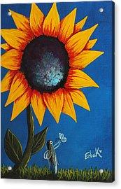 Enjoying Her Garden - Original Fairy Painting Acrylic Print by Shawna Erback