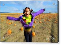 Enjoying Pumpkin Patch Acrylic Print by Heidi Manly